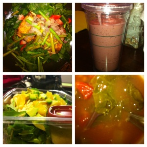 Salmon & Fennel Salad, Butternut Squash & Cherries Smoothie, Arugula Orange Salad, White Bean & Kale Soup